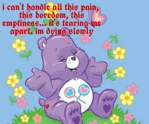 bored, care bear, and edgy image