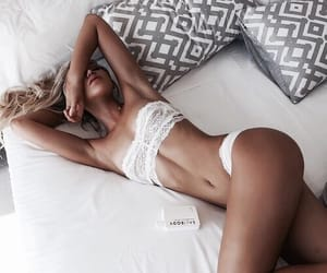 beauty, bed, and blonde image