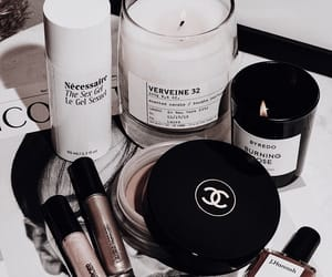 candle, chanel, and cosmetics image