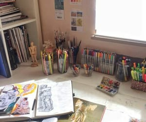 art, art supplies, and desk image