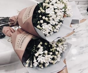 flowers, white, and bouquet image