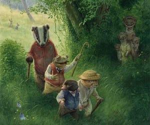 bunnies, big tree, and grassy image