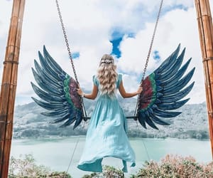 blue, fashion, and wings image