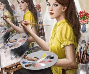 paining, droste effect, and painting girl image