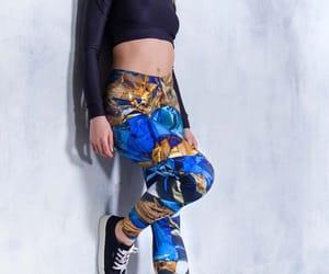 blue leggings, rave wear, and etsy image