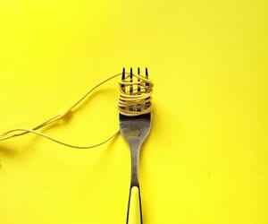 fork, yellow, and minimalism image