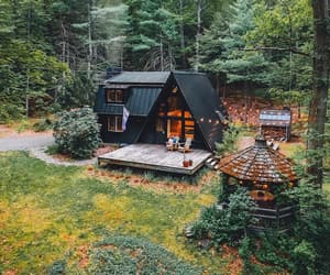 home, autumn, and cabin image