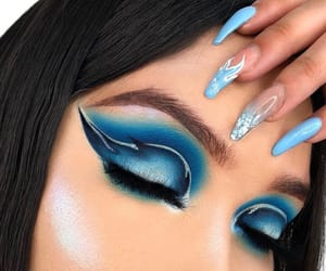 blue, eyeshadow, and nails image