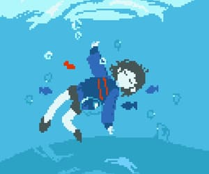 fishes, ocean, and pixel art image