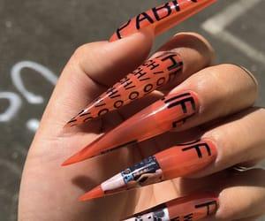 acrylics, acrylic nails, and orange image