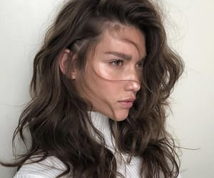 beautiful, brunette, and face image