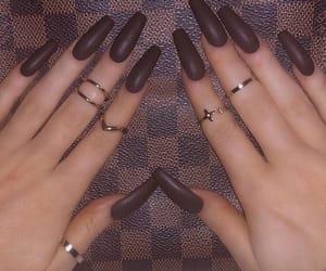 brown, dark, and nails image