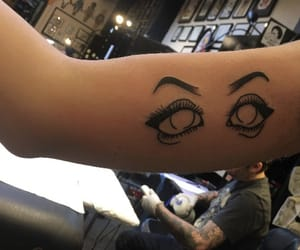 art, bicep tattoo, and eyes tattoo image