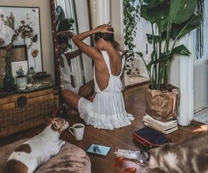 girl, dog, and home image