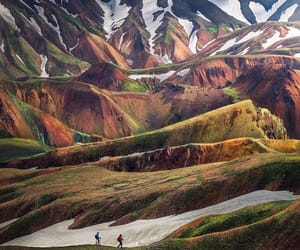 hiking, iceland, and mountains image
