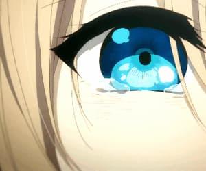 anime, blue eye, and cry image