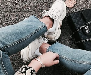 fashion, white, and white sneakers image