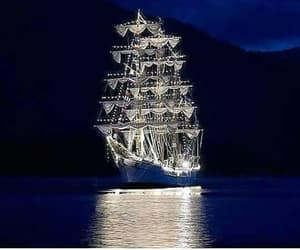 dark, mountains, and ship image