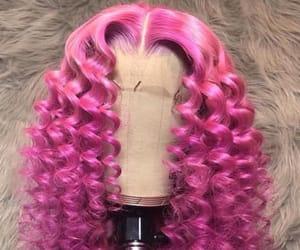 curly, long hair, and magenta image