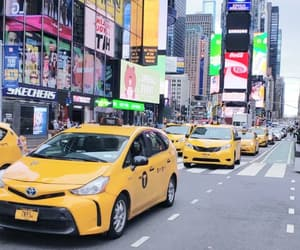 new york, taxi, and times square image