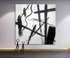 wall decor, acrylic painting, and black and white image