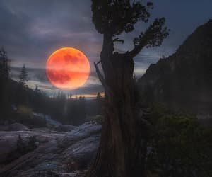 fire, moon, and places image