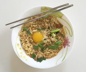 food, egg, and noodles image