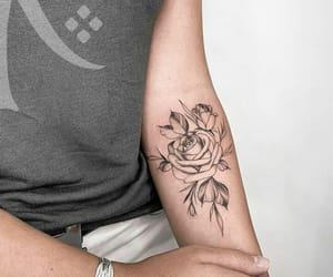 black, flowers, and ink image