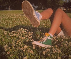 girl, flowers, and shoes image