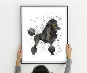 dog, watercolor painting, and abstract wall decor image