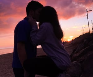 couple, sunset, and cute image