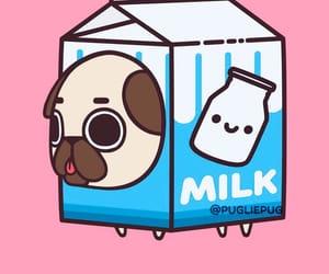 pug, art, and milk image