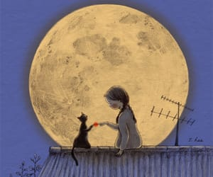 moon, cat, and art image