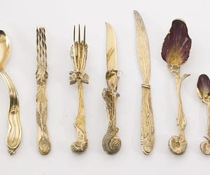 fork, art, and gold image
