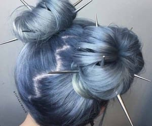 blue hair, buns, and cool hair image