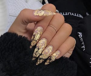 nails, gold, and acrylic image