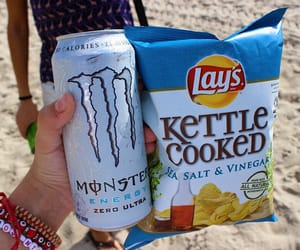 food, beach, and chips image