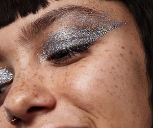 beauty, freckles, and glitter image