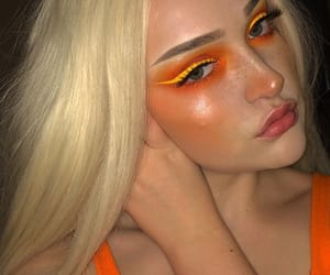 girl, orange, and makeup image