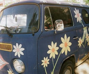 blue, flowers, and hippie image