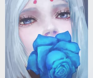 anime, silence, and blue rose image