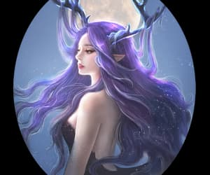 anime, antler, and night image