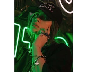 green, neon, and singer image