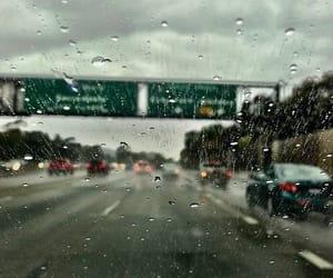 rain, car, and road image