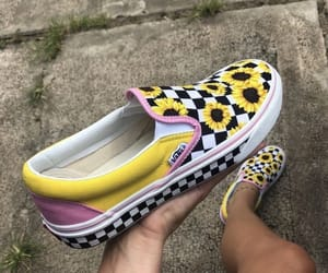 shoes, vans, and sunflower image
