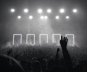 concert, the 1975, and black and white image
