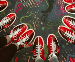 bowling, red, and bowling alley image