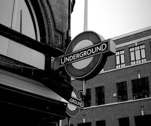black-and-white, london, and underground image