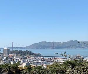 blue, golden gate bridge, and mountain image
