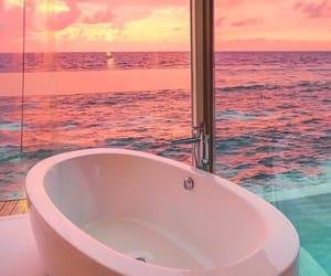sunset, beautiful, and bathroom image